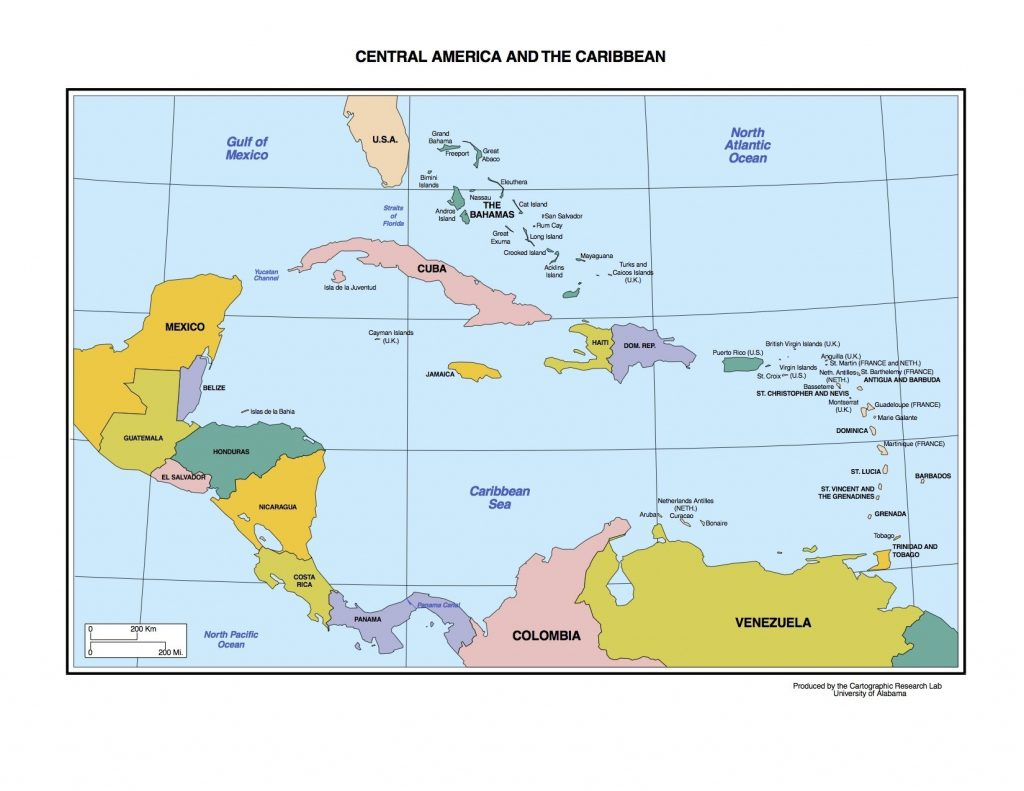 Physical Map Of Northeast Us North And Central America