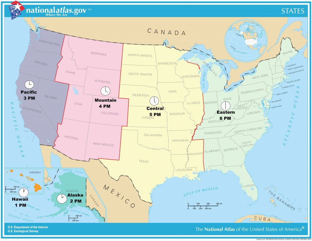 Printable Us Map With Time Zones And State Names Fresh