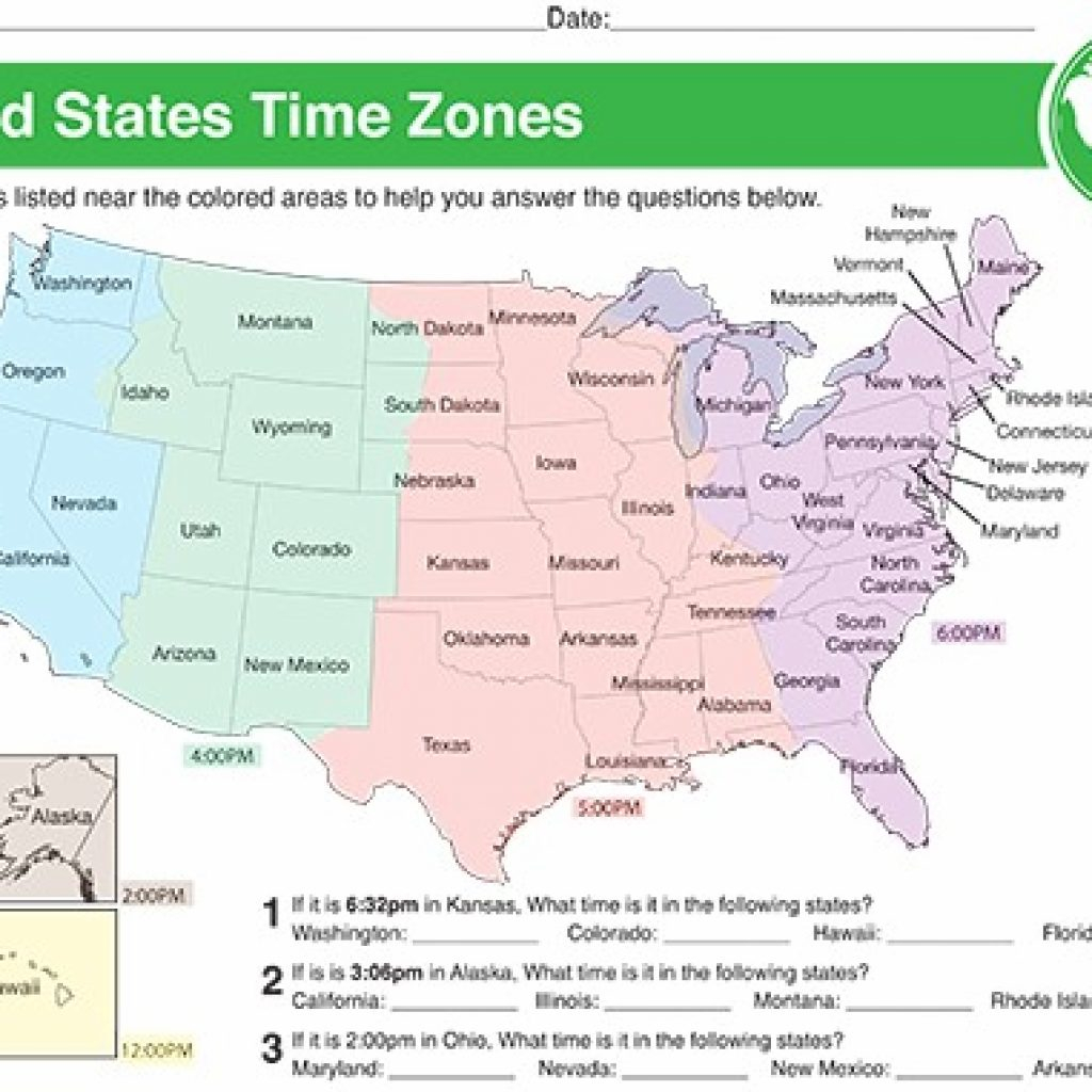 Printable Color Us Timezone Map