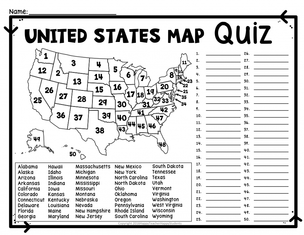 State Capitals Map Quiz Printable Of Us States With