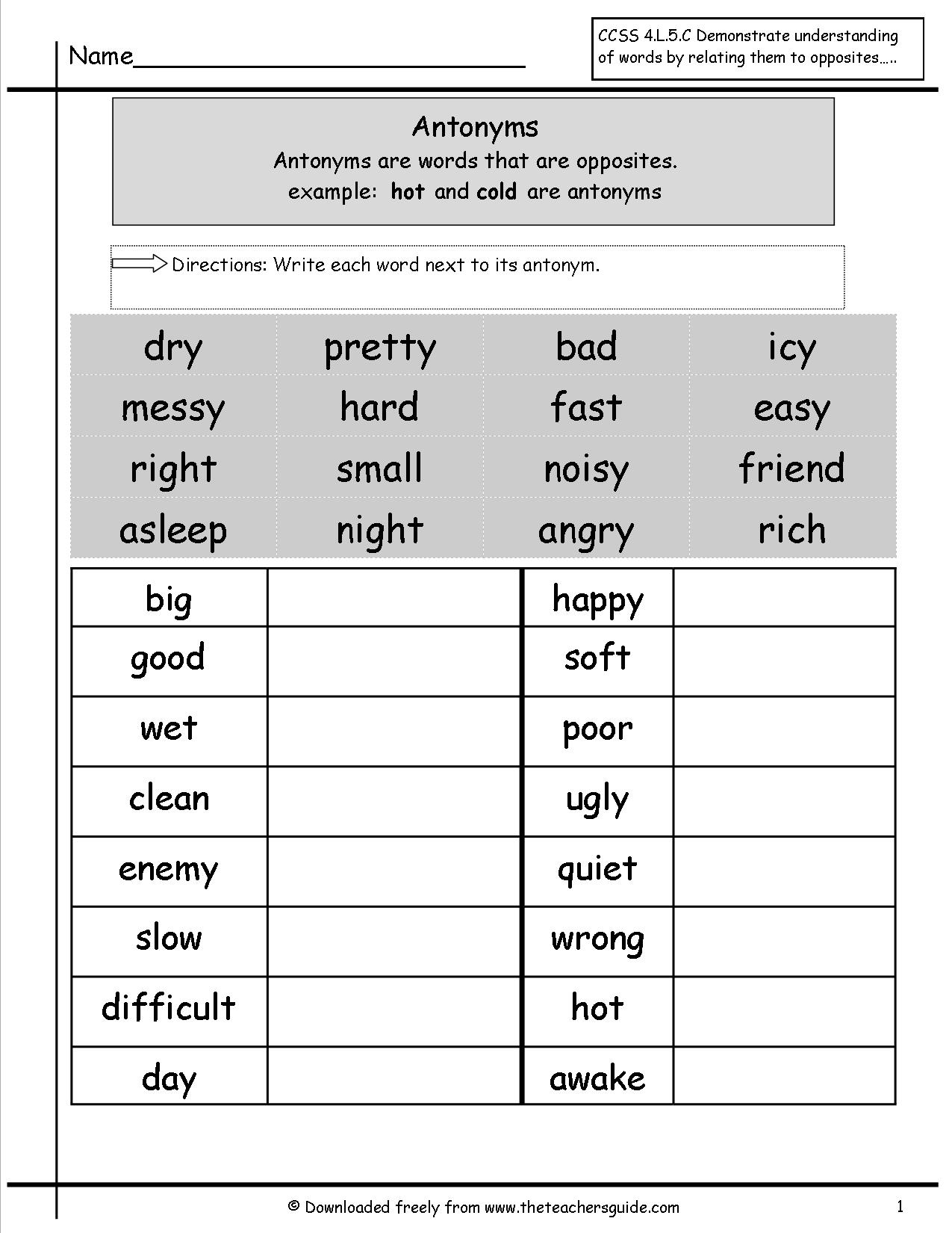 Antonyms And Synonyms Worksheets From The Teacher S Guide