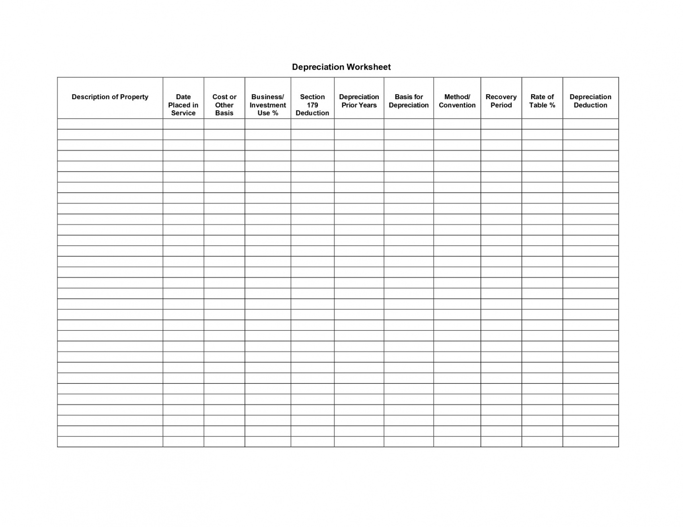 Blank Accounting Worksheets