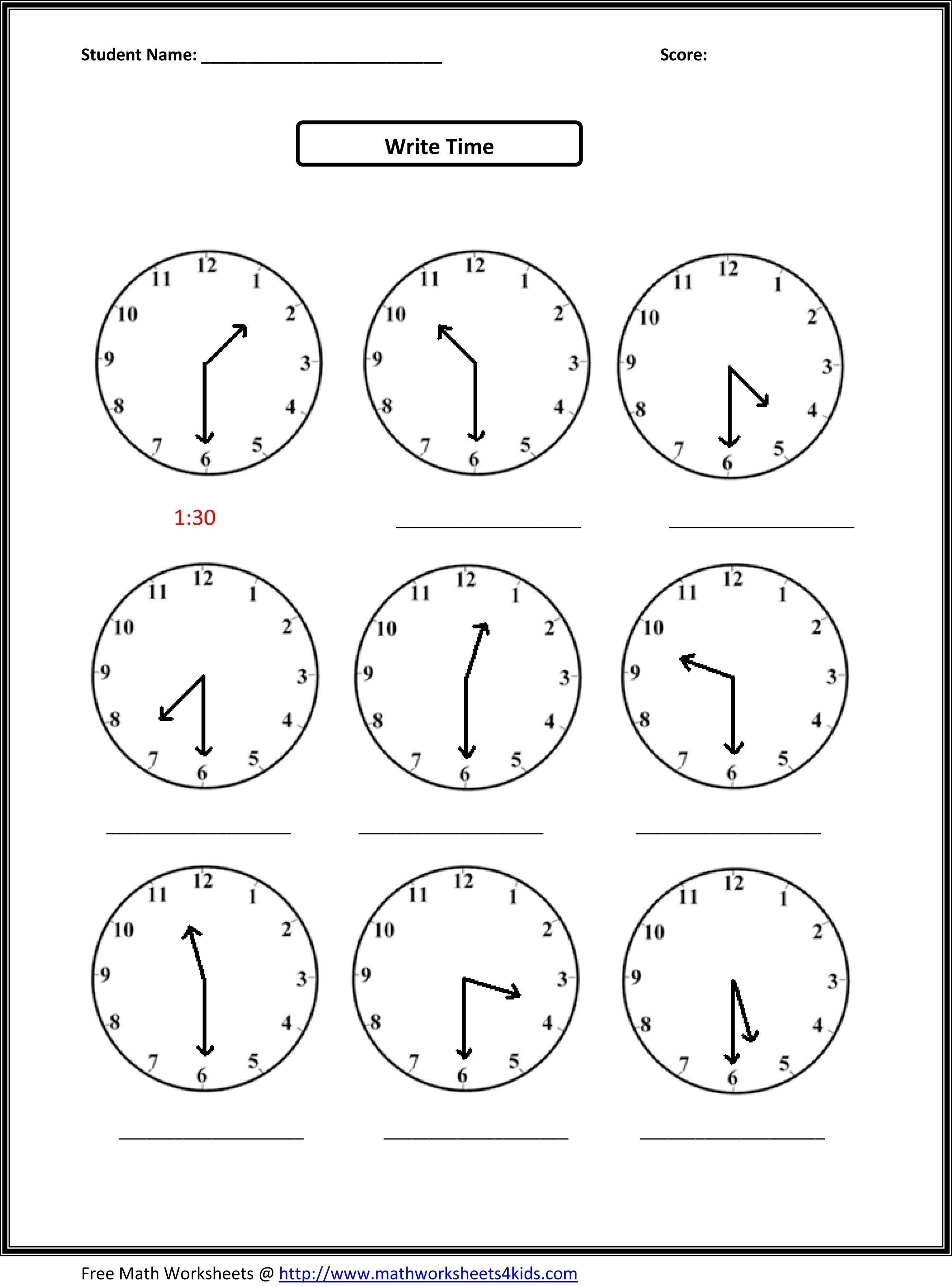 Telling Time Printable Worksheets First Grade