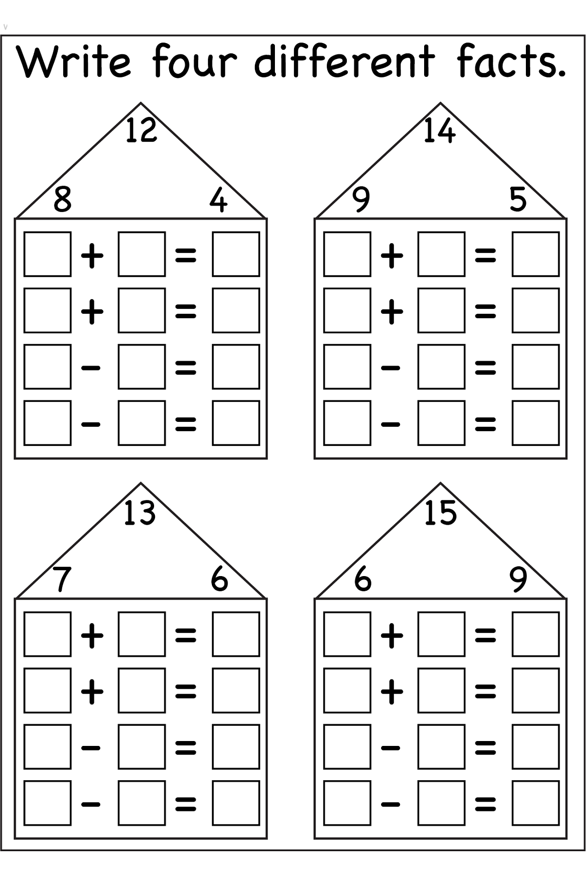 Fact Family Worksheets Printable