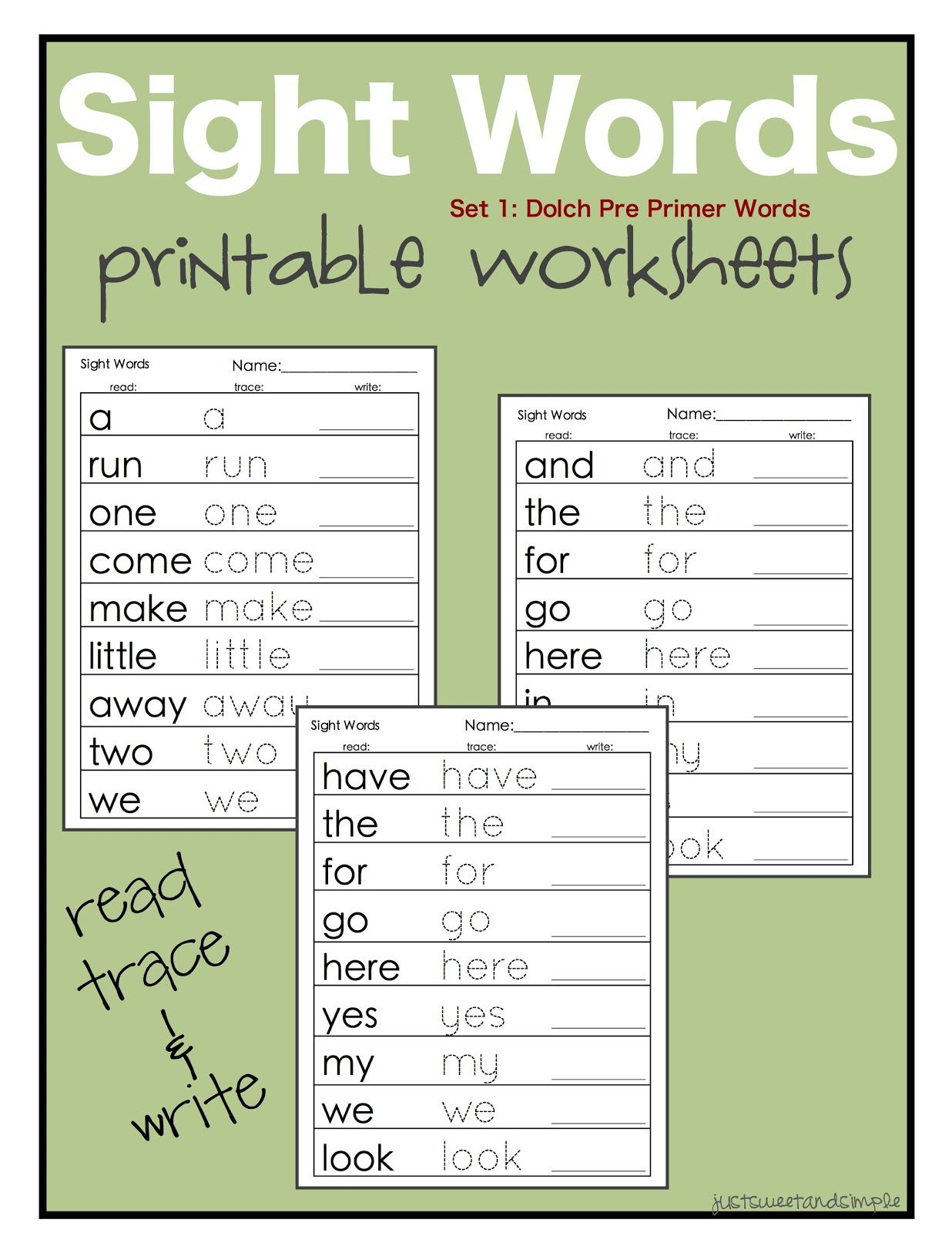 Printable Dolch Word Lists