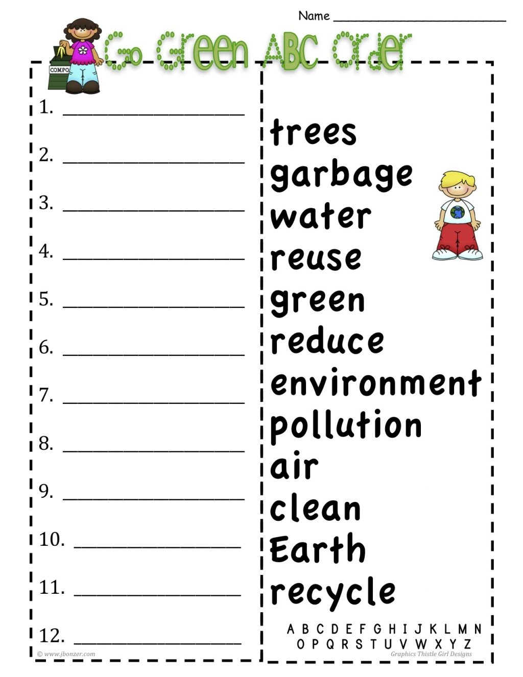 Christmas Abc Order Worksheets Cut And Paste