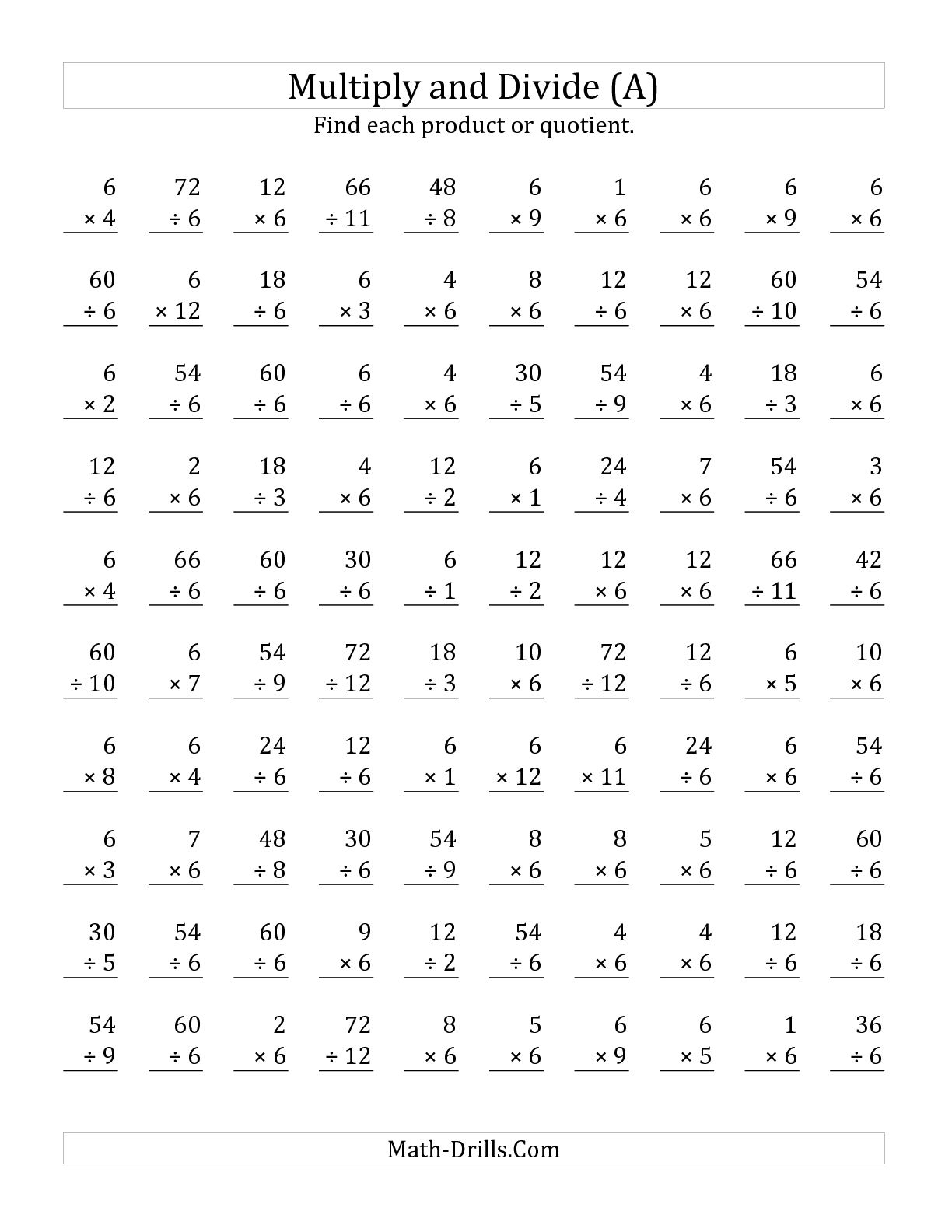 Division Drill Worksheets Printable