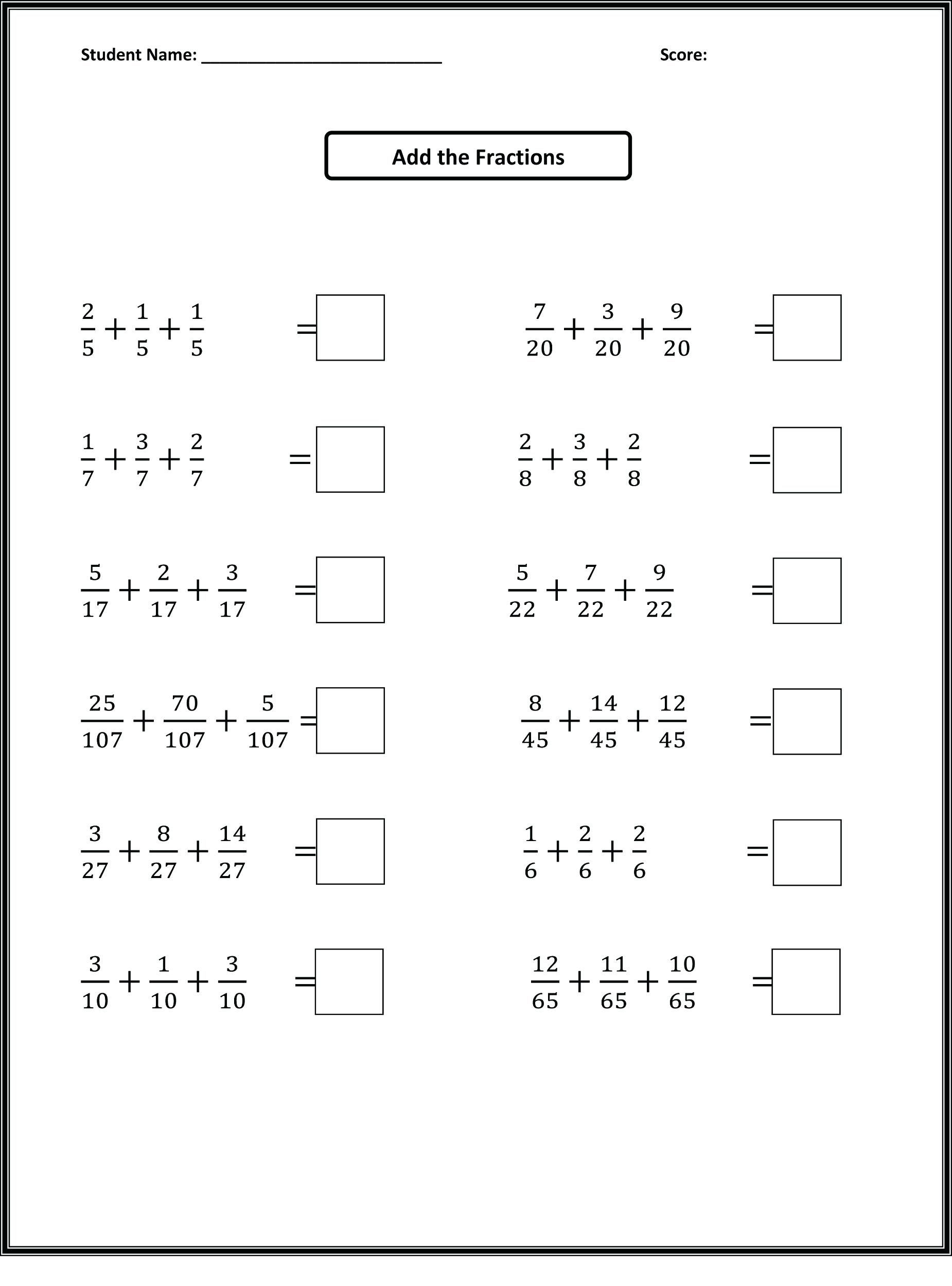 4th Grade Equivalent Fractions Printable Worksheets