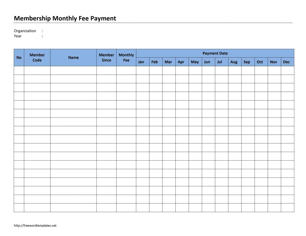 Monthly Payment Spreadsheet