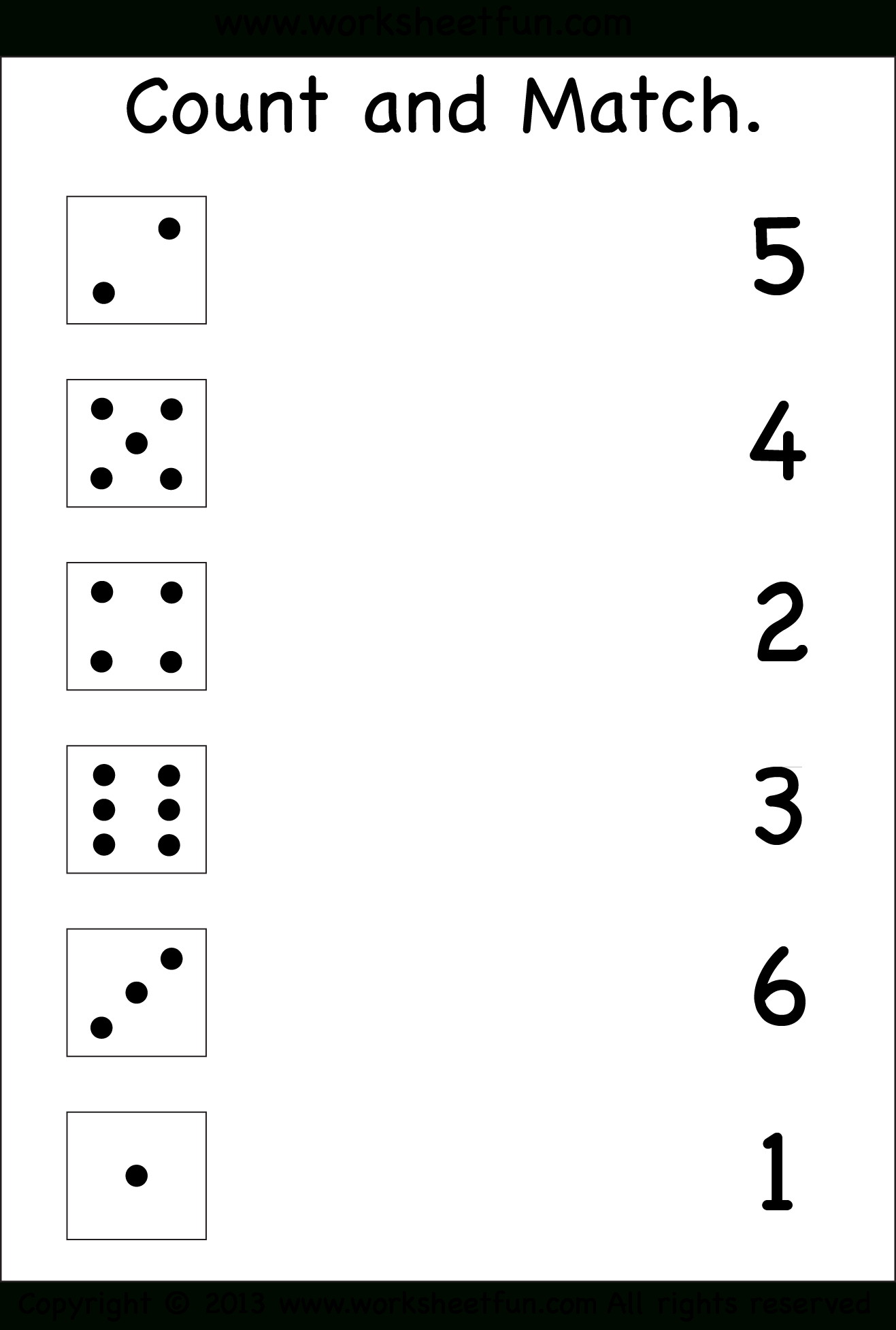 Numbers Count And Match Free Printable Worksheets