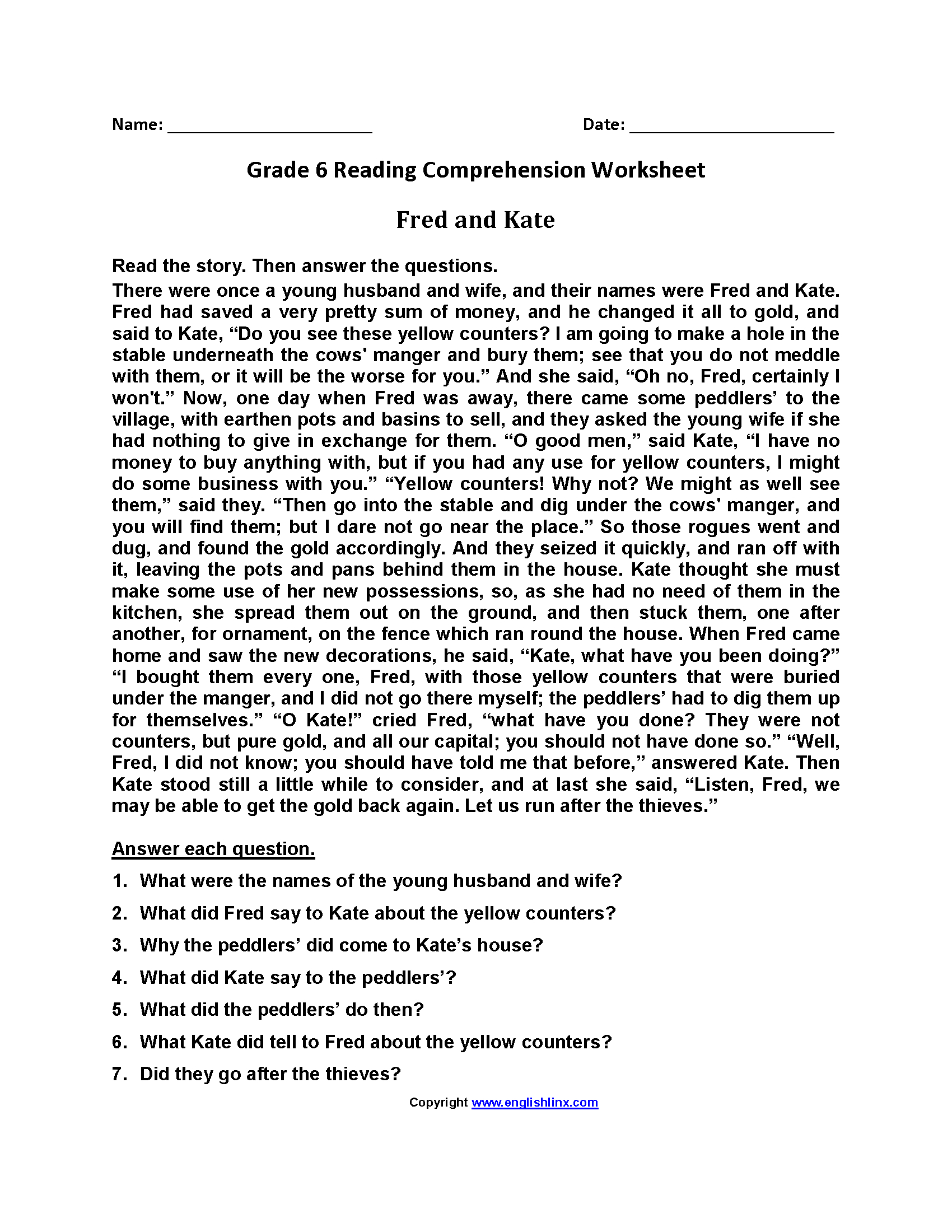 Printable Comprehension Worksheets For Grade 6