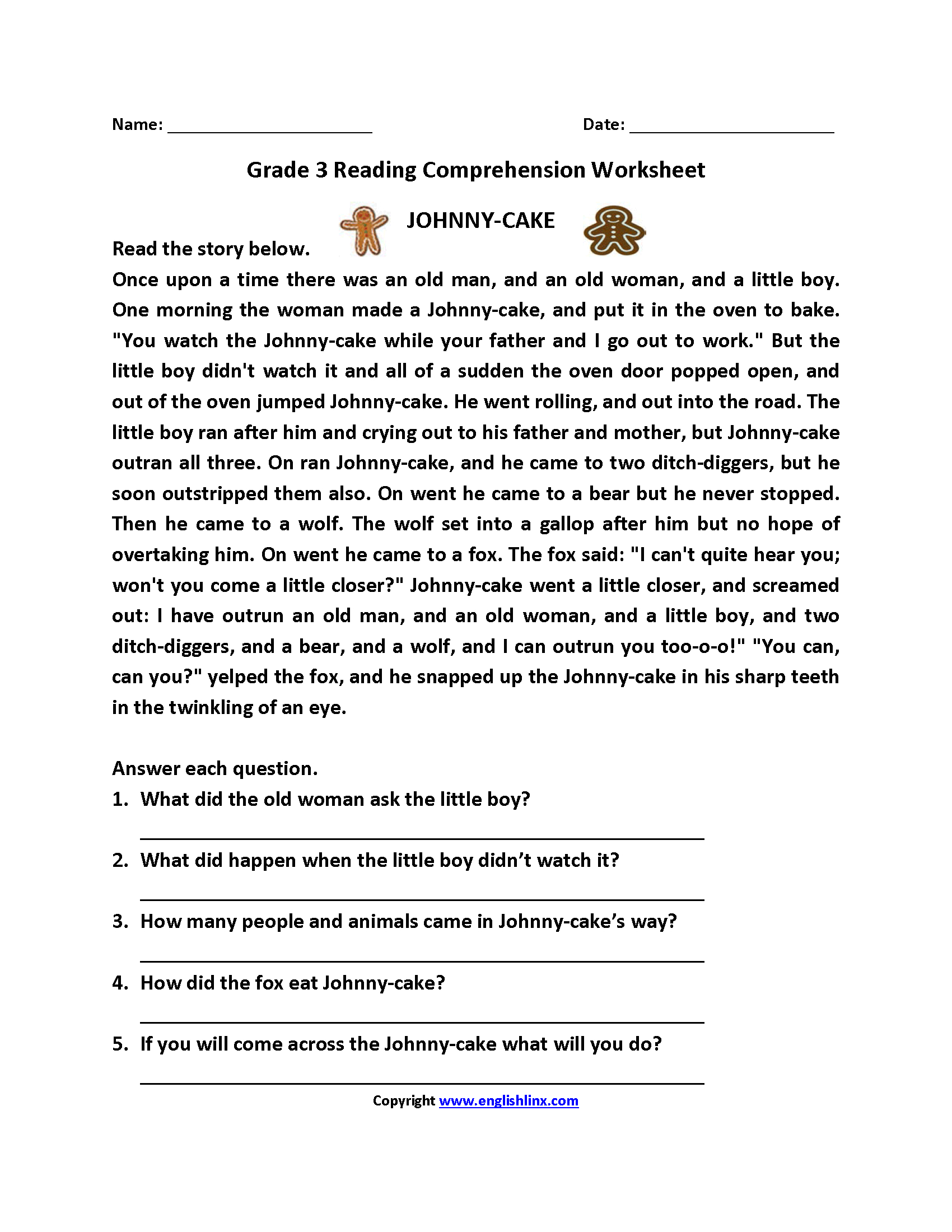 Free Printable Reading Comprehension Worksheets 3rd Grade