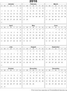 2016 blank calendar