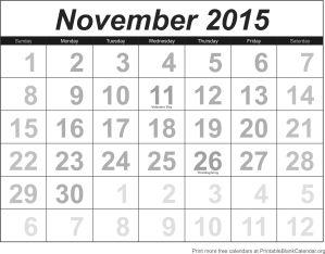 Calendar template November 2015