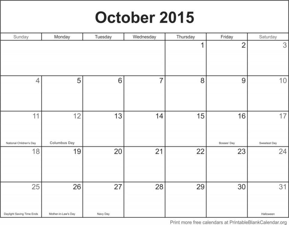 Calendar template October 2015
