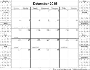 December 2015 calendar with holidays