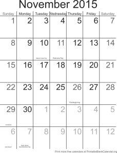 November 2015 blank calendar template