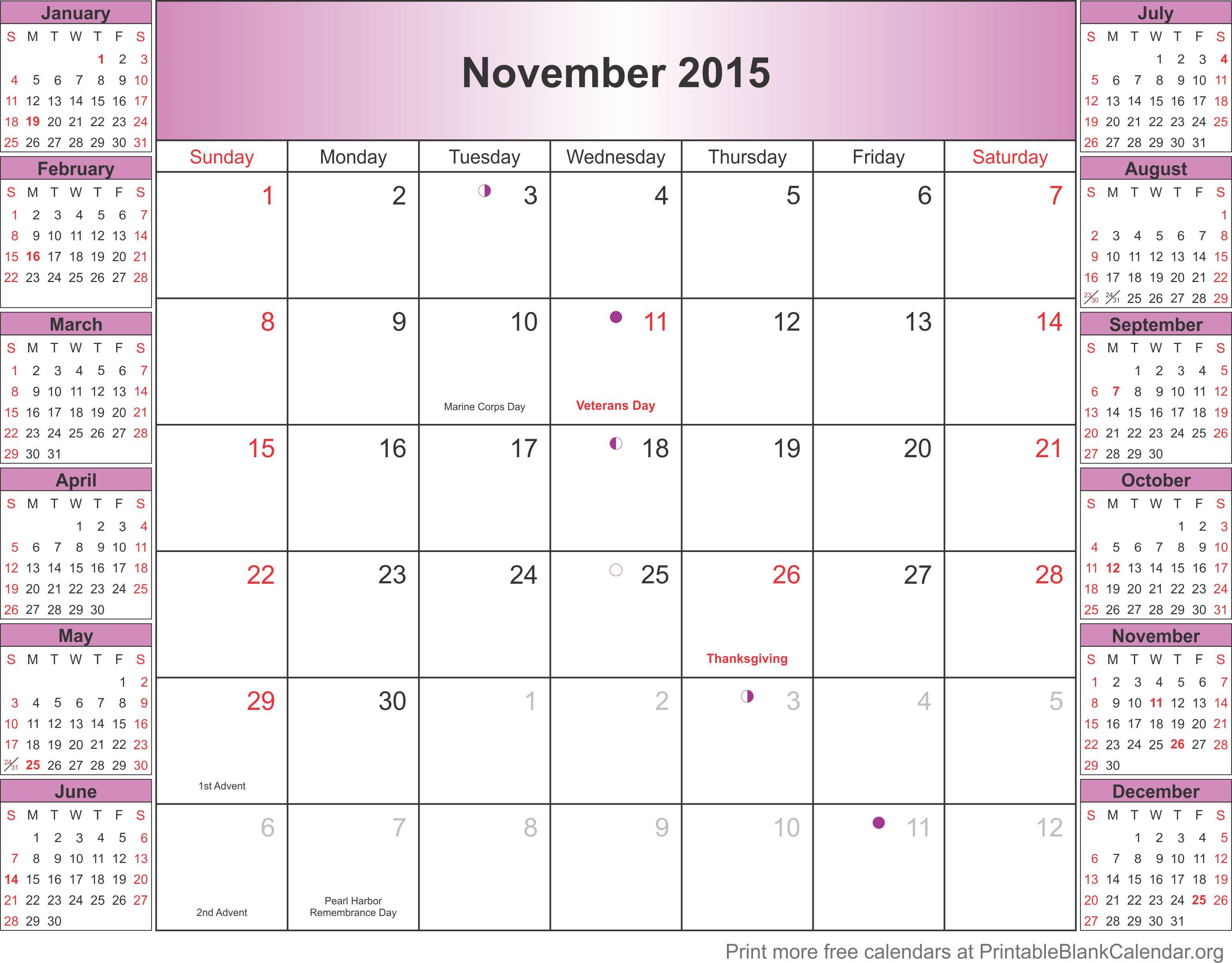 November 2015 Printable Calendar - Printable Blank Calendar.org