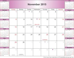 November 2015 calendar with holidays