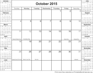 October 2015 calendar with holidays