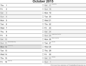 October 2015 free printable calendar