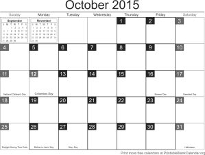 october 2015 printable calendar template
