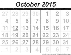 Printable calendar October 2015