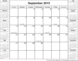 September 2015 blank calendar template