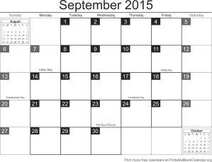 September 2015 free printable calendar