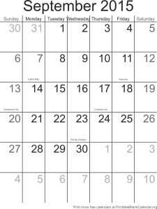 September 2015 montlhy calendar