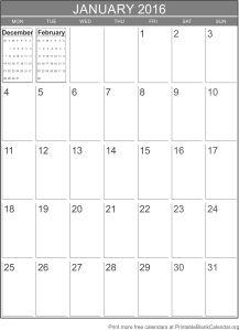 Printable calendar January 2016