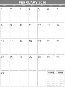 February 2016 blank calendar template