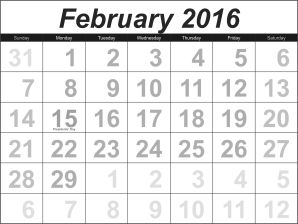 February 2016 calandar