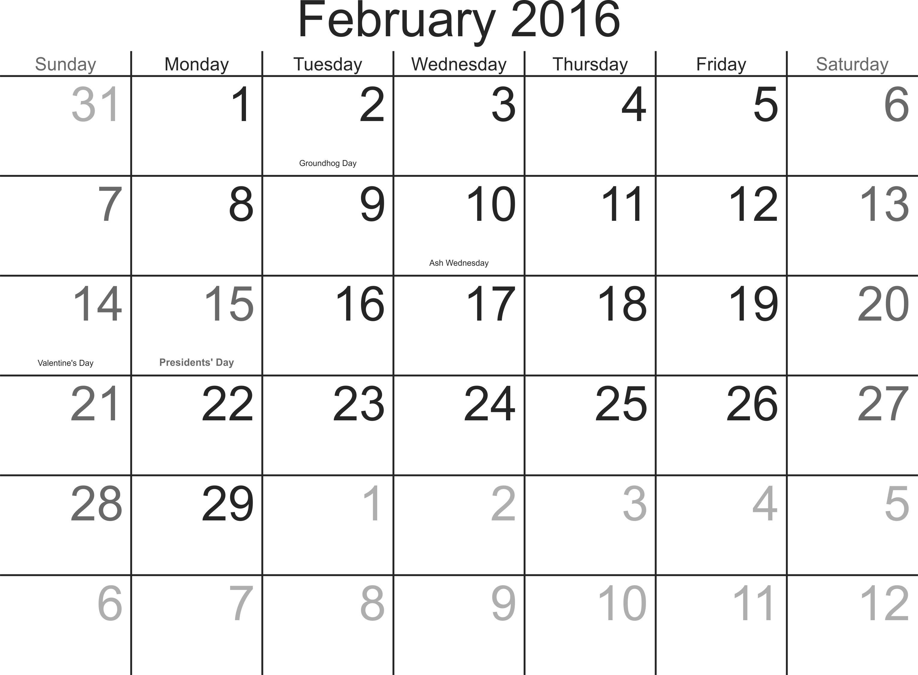 February 2016 Printable Blank Calendars Printable Blank