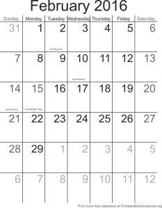 February 2016 montlhy calendar
