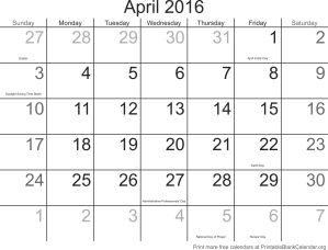 april 2016 calander