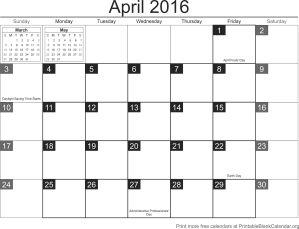 free calendar april 2016