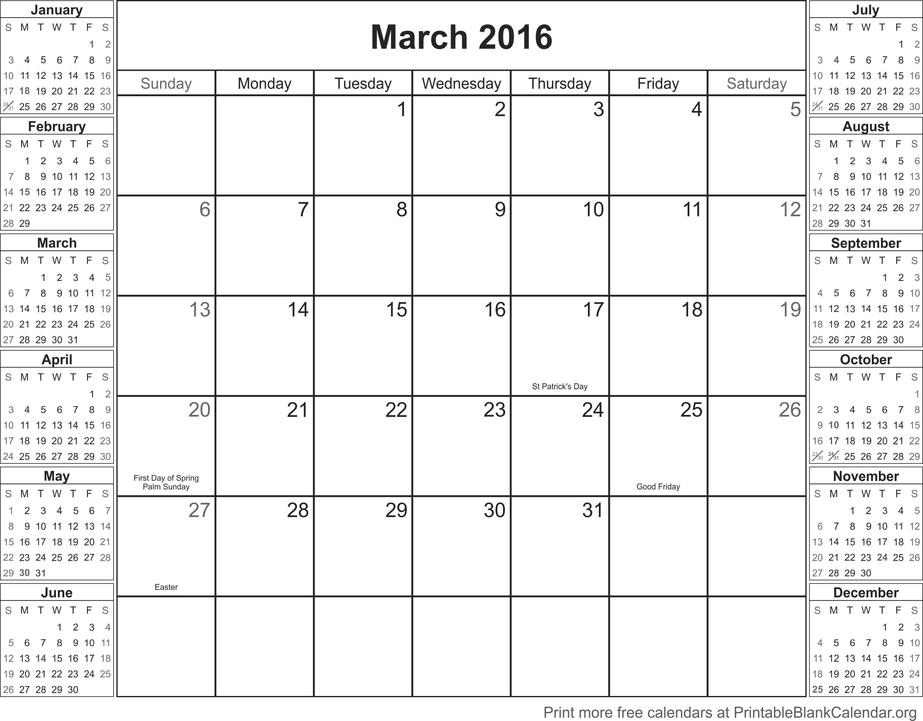 March 2016 Printable Blank Calendar Printable Blank Calendarorg – Printable Blank Calendar