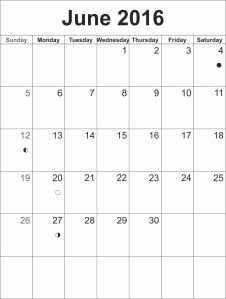 calendar template June 2016
