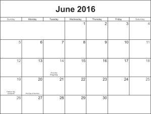 June 2016 calandar