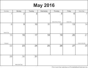 May 2016 calandar