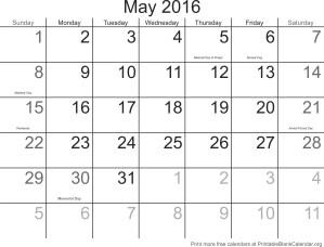 May 2016 calander
