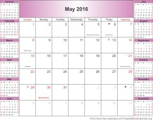 May 2016 calendar with holidays