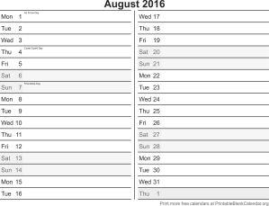 August 2016 free printable calendar