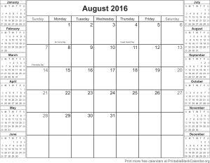 August 2016 montlhy calendar