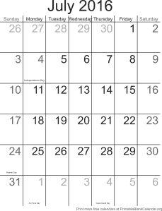 July 2016 free printable calendar