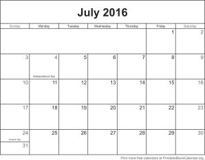 July 2016 printable calendar template