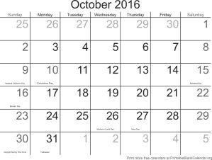 October 2016 free printable calendar