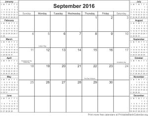 September 2016 calander