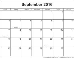 September 2016 montlhy calendar